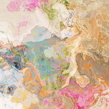 """Large abstract art print on gallery wrap canvas, 24x24 in pastels, """"Dreamgirl"""""""
