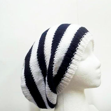 Navy blue and white stripe slouch hat knitted oversized beanie 5226