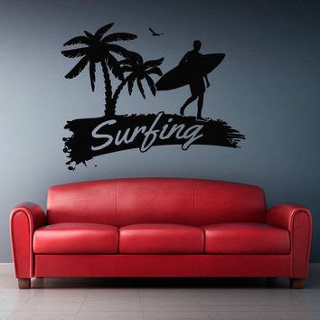 Wall Vinyl Sticker Decals Decor Art Bedroom Design Mural Ocean Water Beach Wind Sun Surf Surfer Board Wave Wording Sign Palm (z2984)