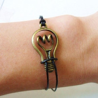 jewelry bangle bulb bracelet women bracelet girls bracelet with bronze bulb and black leather cuff  bracelet wrist SH-0183