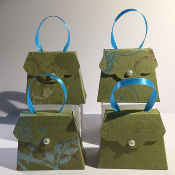 Miniature Green Paper Purses for Mother's Day, Wedding, Birthday, Bridal Shower