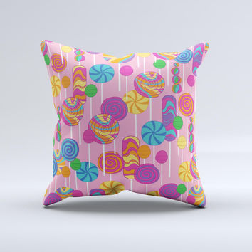 Pink With Vector Color Treats  Ink-Fuzed Decorative Throw Pillow