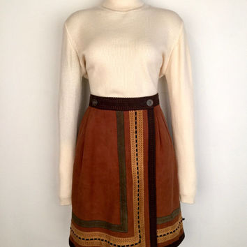 LOEWE!!! Vintage 1970s style 'Loewe' brown suede A-line skirt with button flap front and intricate cut out banding / Made in Spain