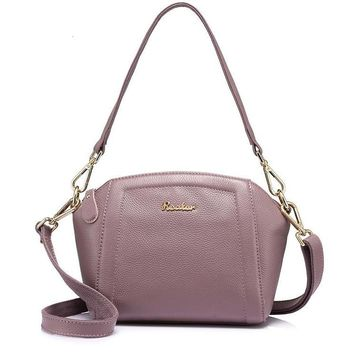 fashion women genuine leather handbag high quality shoulder bag female zipper tote bag Light Green Black Taro Purple