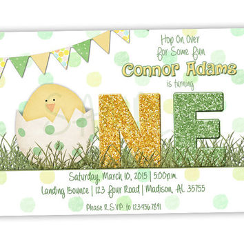 Boy Easter First Birthday Invitation - Bunny Spring 1st Birthday Invitations - March April Chick Invite - Green Yellow - Country - Sweet