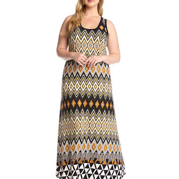 Karen Kane Plus Plus Egyptian Diamond Print Maxi Dress