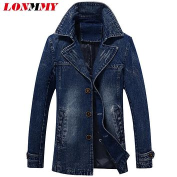 LONMMY M-3XL Denim jacket men windbreaker 52% cotton jeans jacket men Long Casual Trench Coats Men Clothing Single-breasted 2017