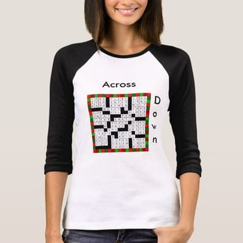 Crossword Puzzle Design on Women's T-Shirt