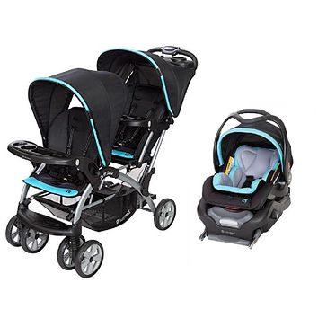 Blue, Teal, Aqua Double Sit N Stand Twin Stroller Travel System Bundle with Car Seat Combo
