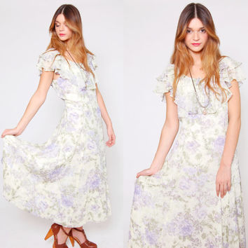 Vintage 80s Silk Maxi Dress LAURA ASHLEY Dress Lavender & Green Floral Ruffle Sun Dress