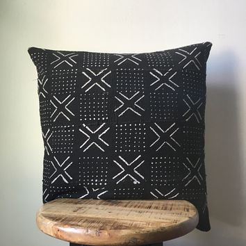 Black & White Small Cross & Dots African Mudcloth Pillow Cover - Custom Made