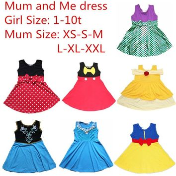 Mother's Day Mum and Me Dress Family Matching Princess Cosply Dresses Belle Mermaid Minnie Mickey Snow white Party Summer Dress