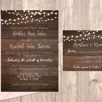 "Printable Rustic Wedding Invitation with Lights 5x7"" with RSVP card"