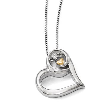 Hugging Diamond Heart Necklace in Sterling Silver & 14k Yellow Gold