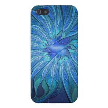 Blue Flower Fantasy Pattern, Abstract Fractal Art iPhone SE/5/5s Cover