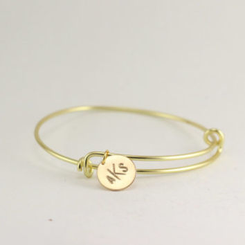 adjustable bangle bracelet initial bracelet, monogram bracelet, hand stamped initial bracelet, christmas gift, engraved bracelet, mommy gift
