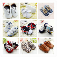 Anti-slip Soft Sole Sneakers 3-18M Baby Boy Girls Crib Shoes Faux PU Leather Cotton