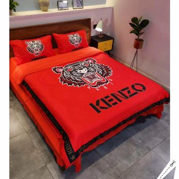 Red Kenzo Stylish Fashion Modal 4 Pieces Sheet Set Blanket For Home Decor Bedroom Living Rooms Sofa
