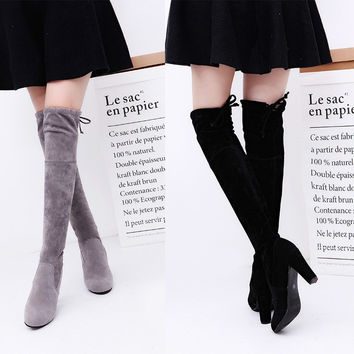 Women Faux Suede Thigh High Boots Over the Knee Boots  high-heeled solid-color  boots professional women boots