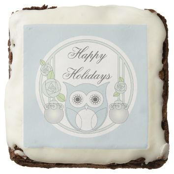 Cute Retro Owl and Roses Personalized Square Brownie