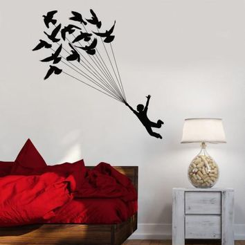 Wall Decal Boy Flying Birds Dream Kids Room Art Vinyl Stickers Unique Gift (ig2902)