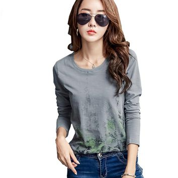 Shintimes Korean Clothes Graphic Tees Women T-Shirt 2017 Cotton Print Long Sleeve Tops Poleras Mujer T Shirt Femme S5068