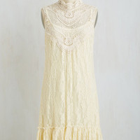 Boho, French Mid-length Sleeveless Shift The Frill of it All Dress by ModCloth
