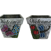 6 Inch Welcome Butterfly and Dragonfly Planters - Assorted Set 2