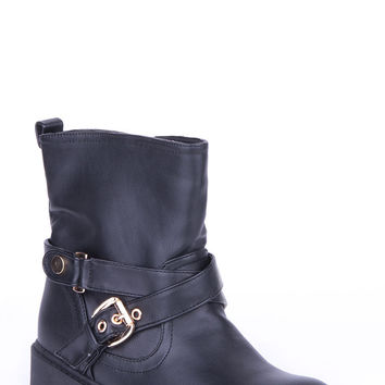 Buckle Detail Biker Style Boots-Brown-UK 8 - EU 41