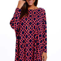 Say When Tunic, Navy/Coral