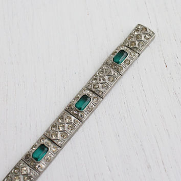 Antique Art Deco Emerald Green & Rhinestone Bracelet - 1930s Silver Tone Signed Nov-e-line Bridal Jewelry / Elegant Panels