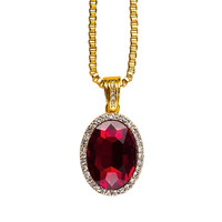 Oval Ruby Pendant & 18K Gold Chain