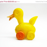 SALE 20% OFF/ adorable soviet union vintage rare pastic duck toy duck on wheels soviet era toy