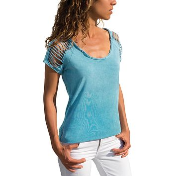 Z| Chicloth Blue Ripped Hollow Out Shoulder Tie Dye T-Shirt Top
