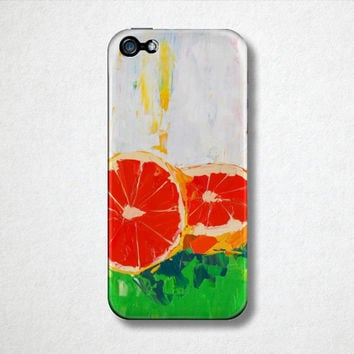 Grapefruit - Citrus Fruit Phone Case - iPhone Case - 4S - 5S - Samsung Galaxy - Plastic Hard Cell Phone Case - Oil Painting - Abstract Art
