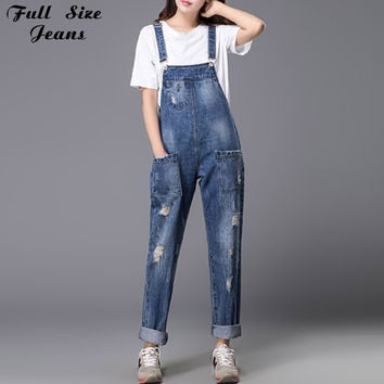 Europe Style Plus Size Womens Loose Ripped Denim Jumpsuit Boyfriend Ripped Hole Pockets Jeans Romper Coverall S M Xl 3Xl 5Xl 6Xl
