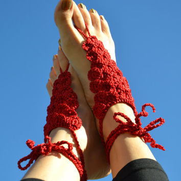Barefoot sandals, nude shoes, blood red crocodile stitch crochet foot jewelry. Dragon crochet. Fantasy series inspired dragon scale crochet.