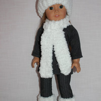 18 inch doll clothes, handknit snowball style hat, lond white scarf, handknit doll socks with fur look trim,Maplelea, journey girl