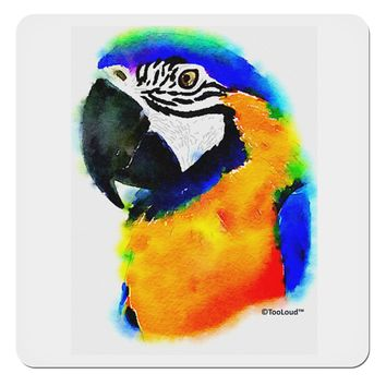 "Brightly Colored Parrot Watercolor 4x4"" Square Sticker"