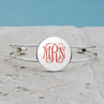 White and Mauve Monogram Pendant Necklace, White Monogram Cuff Bangle Bracelet, White Monogram, Gifts for her