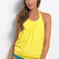Ultra Soft Lemon Blouson Tankini Top