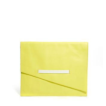 ASOS Leather Clutch Bag With Asymmetric Flap