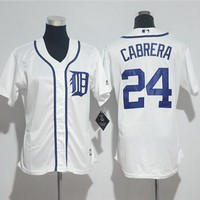 Women's Detroit Tigers #24 Miguel Cabrera Majestic Cool Base Player Jersey