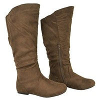 Twisted Women's Shelly Wide Calf Fashion Scrunch Boot