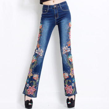 2016 Hand Made Spring High Waist Luxury Beading Embroidered Flares Jean Female Embroidery Flower Jeans Denim Trousers Plus Size