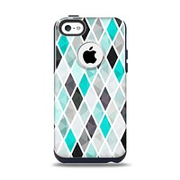 The Graytone Diamond Pattern with Teal Highlights Apple iPhone 5c Otterbox Commuter Case Skin Set