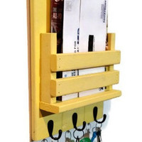 Sydney Mail Organizer and Key Rack with Slotted Bin - Painted Version