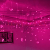 3.5m 96 LED String Fairy Lights Wedding Christmas Lights 16 Hearts Cortina De LED Curtain Party Decoration Lamp luzes para festa