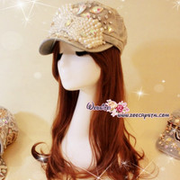 CHRISTMAS time - Superb Stylish and Elegant Pearl HAT / CAP with Swarovski / Czech Big Rhinestones