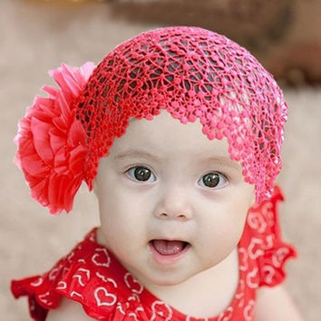"1PC Baby Girls Red Lace Flower Stretch Hair Headbands 22x14cm(8 5/8""x5 4/8"") = 1705661764"